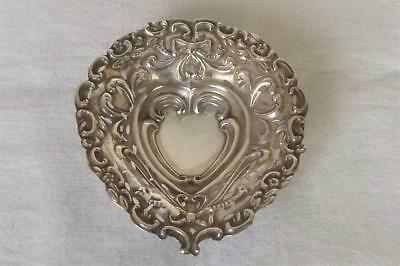 A Fine Antique Solid Sterling Silver Heart Shaped Edwardian Dish 1903.