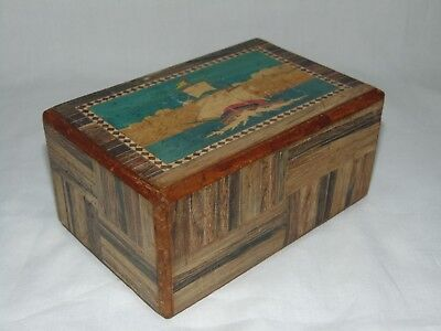 GREAT VINTAGE JAPANESE INLAID WOODEN PUZZLE BOX in GOOD WORKING CONDITION