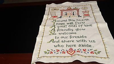 Cross Stitch Sampler On Linen AROUND THIS HEARTH I HOPE WILL FLOUR LOVE...Old
