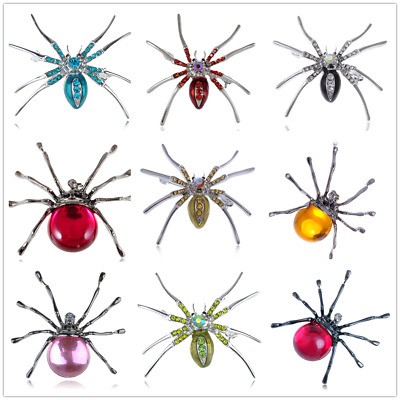 Vintage Large Spider Crystal Rhinestone Brooch Pin Halloween Novelty Party Gift