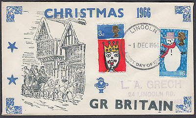 1966 Christmas scarce 'Lawrence Grech' FDC; Lincoln FDI