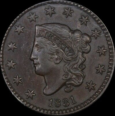 United States of America 1831 Coronet Head Large Cent Large Letters PCGS AU55