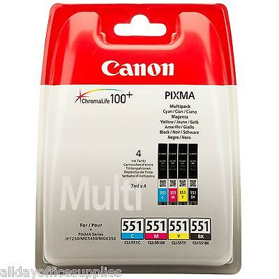 Genuine Canon CLI-551 BK/C/M/Y 4 Colour Ink Cartridge Multipack For PIXMA MG6600
