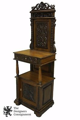 Antiqued Mahogany Hall Cupboard Butlers Desk Tree Stand Podium Cabinet 78.5""