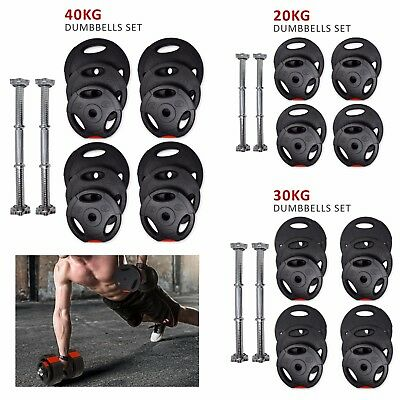 20Kg - 40Kg Tri Grip Cast Iron Dumbbells Set Weight Lifting Gym Workout Training