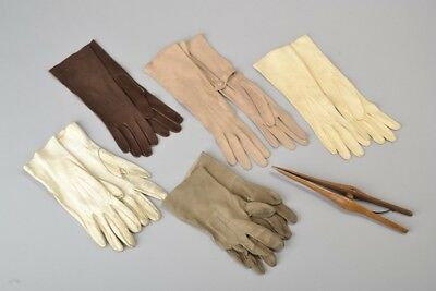 Ladies' Elegant Early C20th Fine Quality Leather Gloves & Wooden Stretcher. BVQ