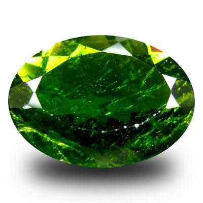 3.85 ct  Super-Excellent Oval Shape (12 x 9 mm) Green Chrome Diopside Gemstone