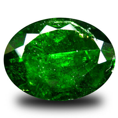 6.14 ct  Shimmering Oval Shape (14 x 11 mm) Green Chrome Diopside Gemstone