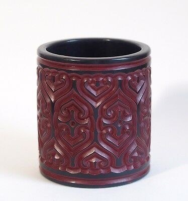 An Outstanding antique Chinese 19th century Tixi lacquer cinnabar brush pot