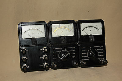 Lot Of 3 Vintage Conway Electronic Bakelite V/a Meters Steam Punk 6606