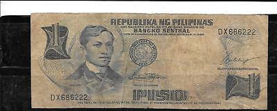 PHILIPPINES #142b 1969 GOOD CIRCULATED OLD PISO BANKNOTE PAPER MONEY CURRENCY