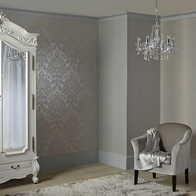 Precious Metals Glisten Damask Platinum Wallpaper - Gold Silver Arthouse 673203