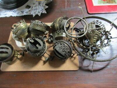 oil lamp parts old burners  etc all as found