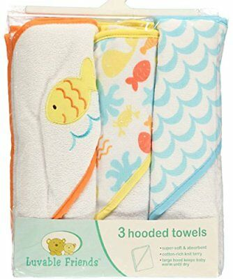 """NEW Luvable Friends """"Seaside Medley"""" Pack Hooded Towels - one size 3, yellow"""