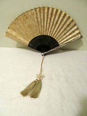 Vintage Japanese Brocade Silk Lacquer Bamboo Mother of Pearl Hand Fan