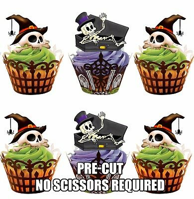 PRE-CUT Halloween Skeletons Skull Edible Cup Cake Toppers Cake Decorations Party