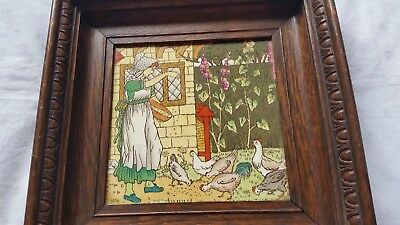 """ANTIQUE 1870's POLYCHROME TILE BY JOSIAH WEDGWOOD """"AUGUST"""""""