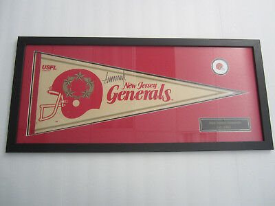 Donald Trump NJ Generals Signed Pennant Professionally Framed Matted PAAS