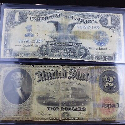 Lot of 2 Notes - 1917 $2 and 1899 $1 Silver Certificate - Worn & Taped
