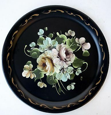 VINTAGE TOLE Toleware ROUND TRAY Handpainted Roses FLORAL 14  Inches