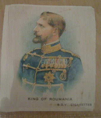 Great War WW1 Medium Silk Cigarette Card - King of Roumania (BDV Cigarettes)