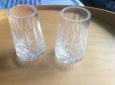 "PAIR Tyrone Crystal VASES ATHLONE CUT 3.9"" Tall ONE Stamped - NO BOX - SEE DESC"