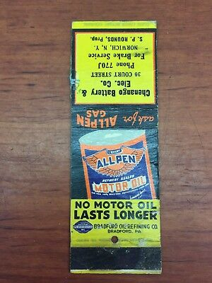 Vintage 1930's Gas& Oil ALLPEN Motor Oil Advertising Match Book Norwich, NY.