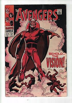 Marvel Comic The Avengers  no 57 Oct 1968 The FIRST APPEARANCE of THE VISION 12c