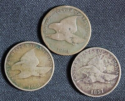 1857 and 1858 L/L and S/L Flying Eagle Cents