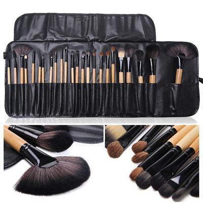 Pro 24 Pcs Makeup Brushes Cosmetic Tool Eyeshadow Powder Brush Set w/ Case #Cu3