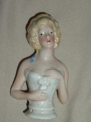 """Antique German Germany Half Doll Away Arms 3"""" Pin Cushion Doll"""