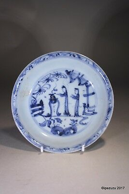 Antique Chinese Ming Wanli Blue & White Bowl Figures in a Garden