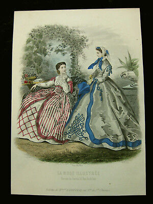 Mode Damenmode Ladies ' Fashion No 1, franz. Stahlstich ca. 1855