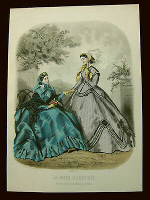 Mode Damenmode Ladies ' Fashion No 3, franz. Stahlstich ca. 1855