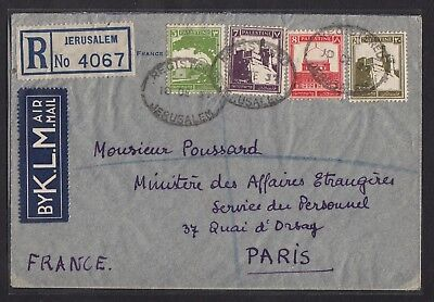 Palestine: Scarce R-cover + airmail with KLM to France from Jerusalem 1937 !!