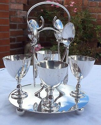 Fine Quality Antique Sheffield Silver Plated Egg Cruet Set J Turton & Co C.1900