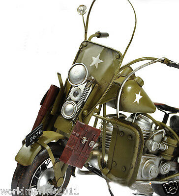 * Chartreuse Iron Sheet Military Motorcycle Model Bar Decoration/Collection
