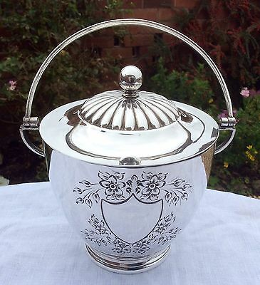 Fabulous Antique Sheffield MAPPIN & WEBB Silver Plated Biscuit Barrel C1900