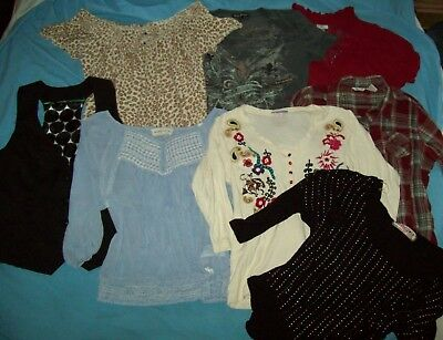 LOT 8 Shirts Woman's Blouse Sz Large Tops Lucky Brand Maurices Vest Abercrombie