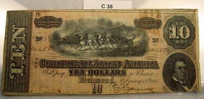 1864 $10 Ten Dollar Confederate Note / Currency T-68 #c38
