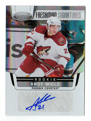 Andy Miele Nhl 2011-12 Certified Auto Rookie Card (Phoenix Coyotes)