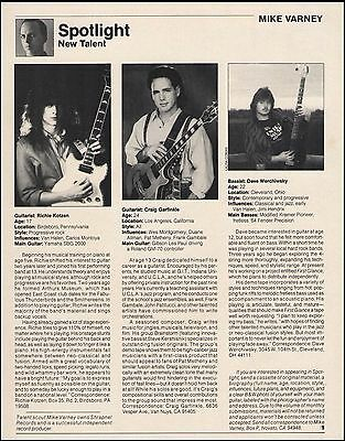 Richie Kotzen at age 17 new talent 1988 guitar player resume 8 x 11 article