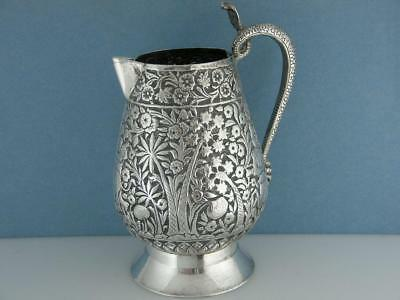 Old Indian Silver Cream Jug repousse trees flowers animals hunters cobra handle