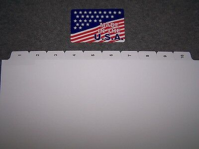 1-10 Numbered Index Divider Tabs 50 SETS  NO holes for GBC or Spiral binding