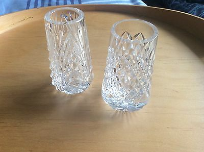 "TWO Tyrone Crystal VASES 3.9""  DIFFERENT CUTS ONE Stamped - VGC NO BOX"