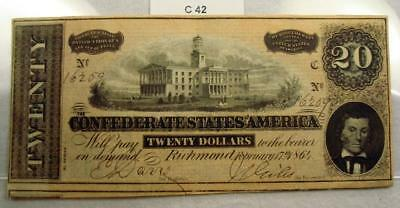 1864 $20 Twenty Dollar Confederate Note / Currency T-67 #c42
