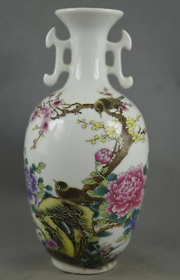 8.25In Collectible Handwork Porcelain Paint Beauty Flower Lucky Auspicious Vase