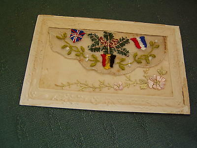Ww1 Vintage - National Flags Greetings Silk Postcard