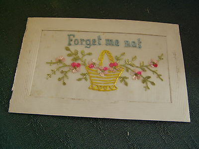 Ww1 Vintage Forget Me Not - Greetings Silk Postcard