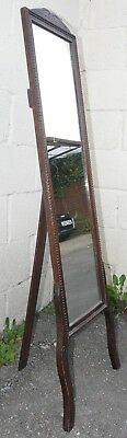 Edwardian Oak Cheval Mirror